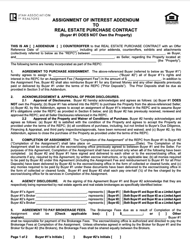 Utah real estate assignment of contract