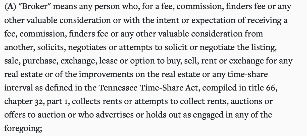 is wholesaling real estate legal in Tennessee?