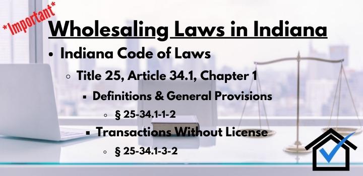 wholesaling laws Indiana
