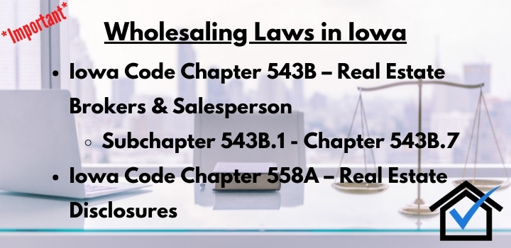 wholesaling laws Iowa