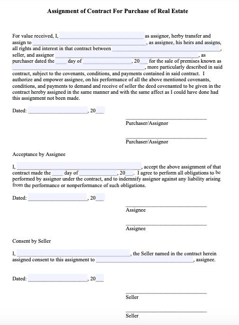 purchase contract Missouri wholesaling