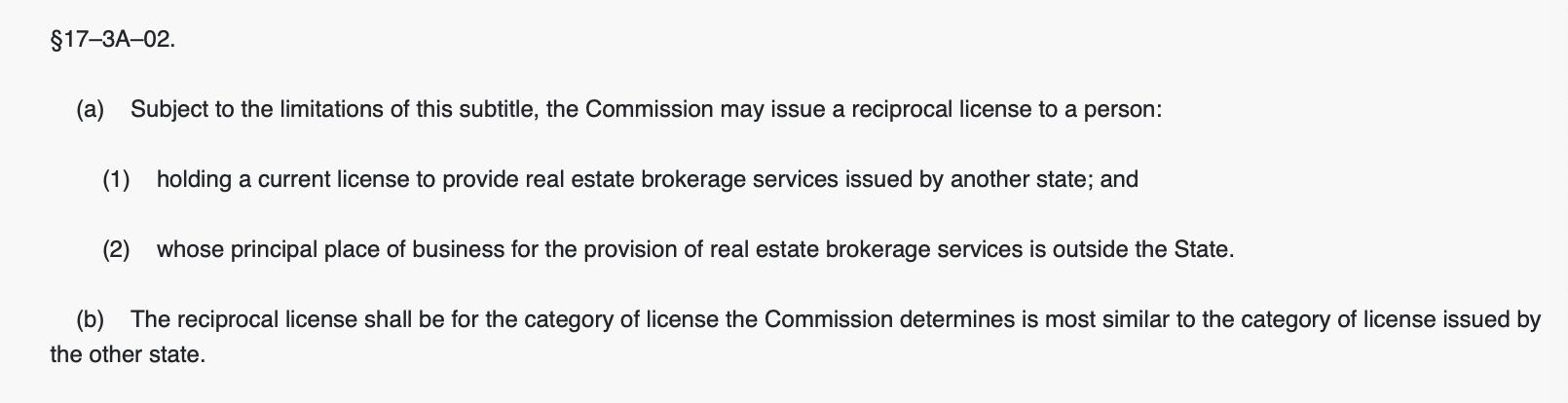 Maryland real estate license