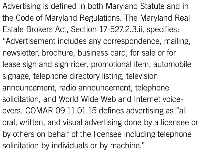 Maryland advertising law