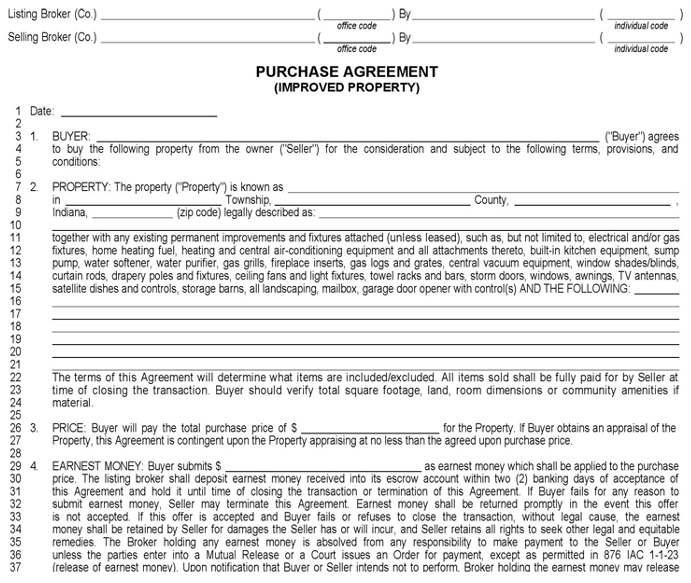 Indiana purchase agreement for wholesaling