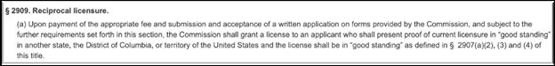 real estate reciprocal licensure