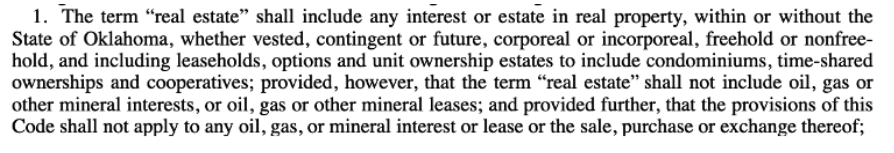 oklahoma real estate definition
