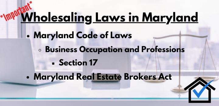 wholesaling laws Maryland