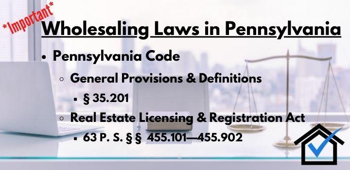 Wholesaling laws Pennsylvania
