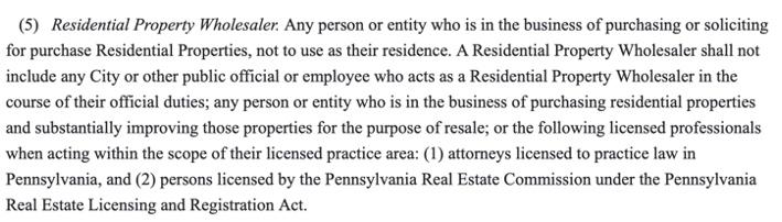 Residential Property Wholesale Pennsylvania