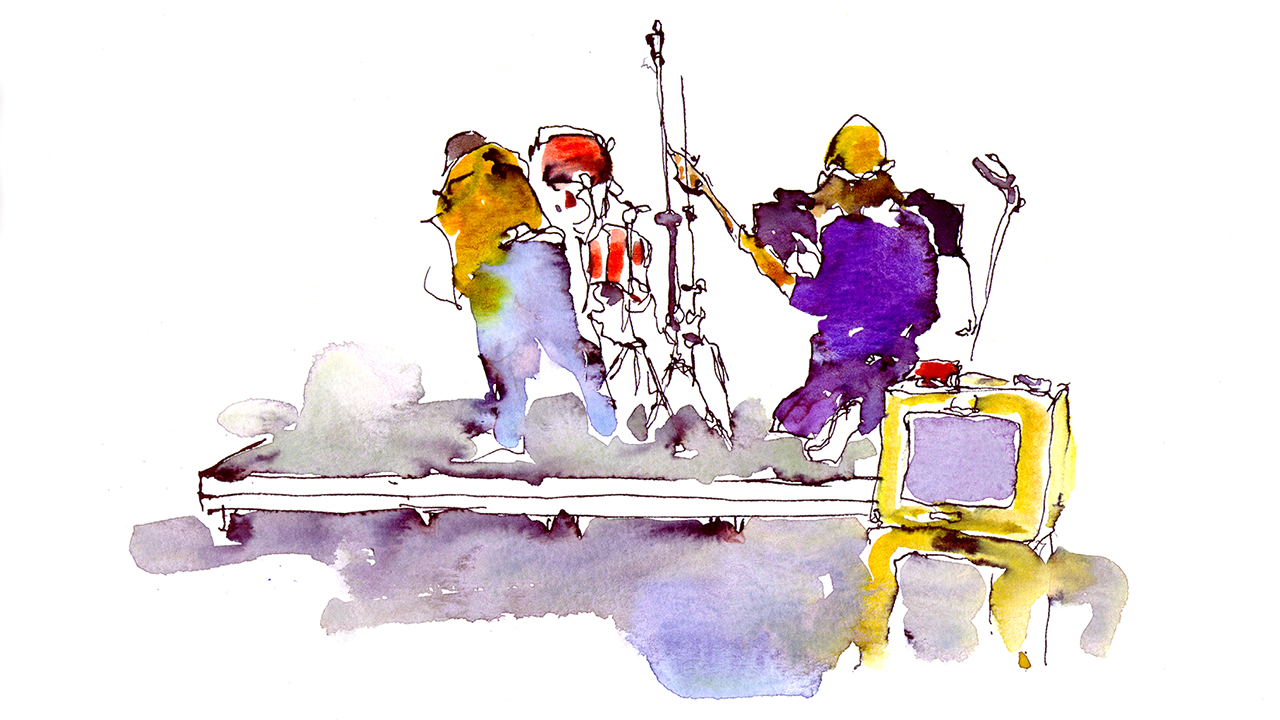 Setting Up for Todd Wolfe Blues Jam - Ink and Watercolor