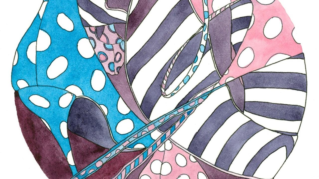 Patterns created in the format of dala art inspired by high heel shoes