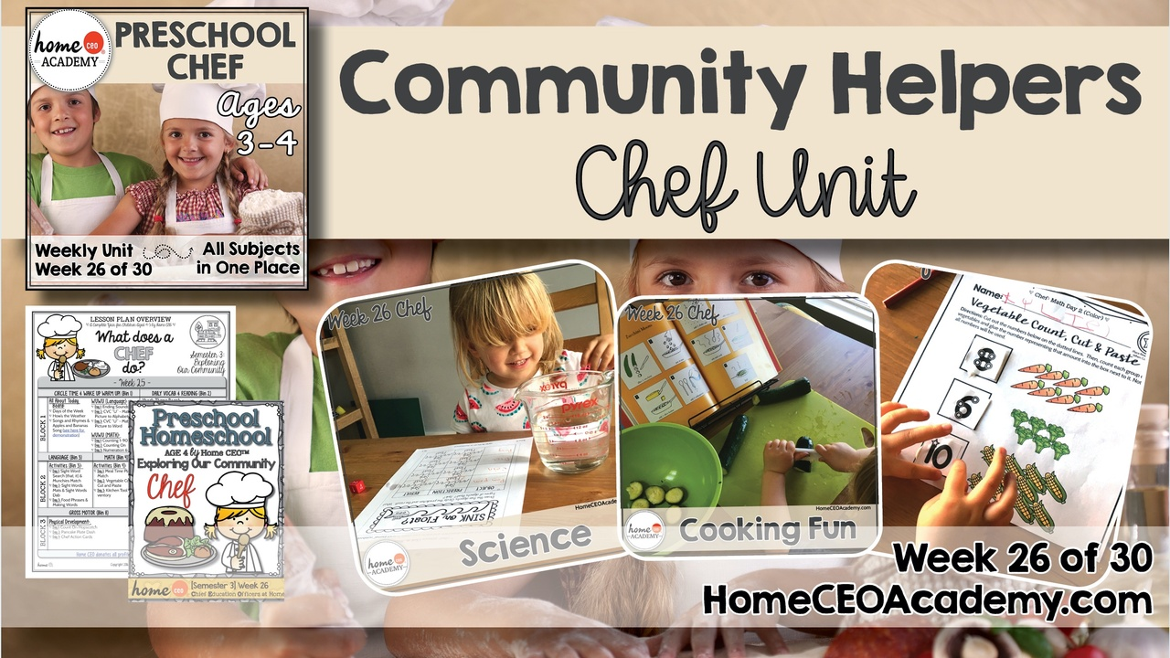 Compilation of images depicting pages and activities in the chef themed week of the Home CEO Academy preschool homeschool curriculum Community Helpers Unit.