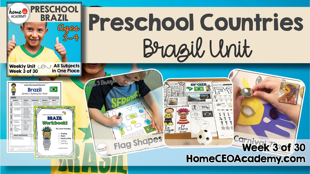 Compilation of images depicting pages and activities in the Brazil themed week of the Home CEO Academy preschool homeschool curriculum Countries Unit.