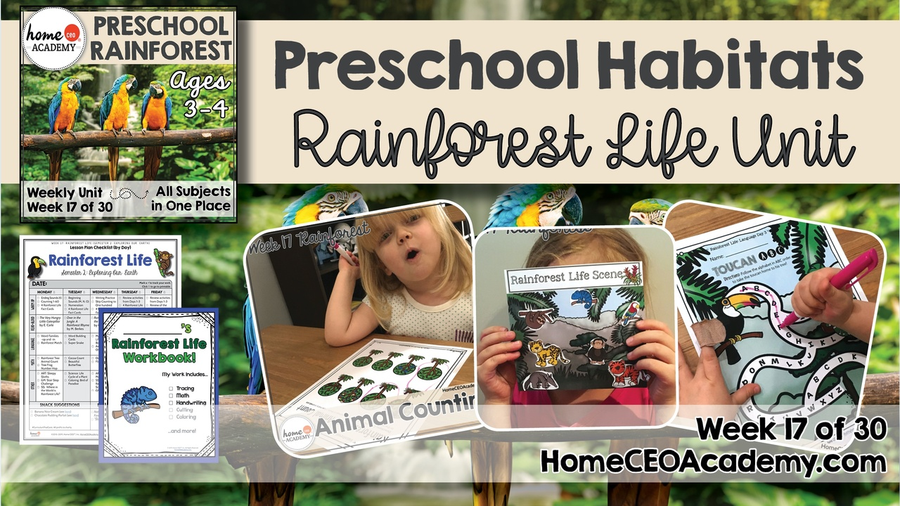 Compilation of images depicting pages and activities in the Rainforest themed week of the Home CEO Academy preschool homeschool curriculum Habitats Unit.