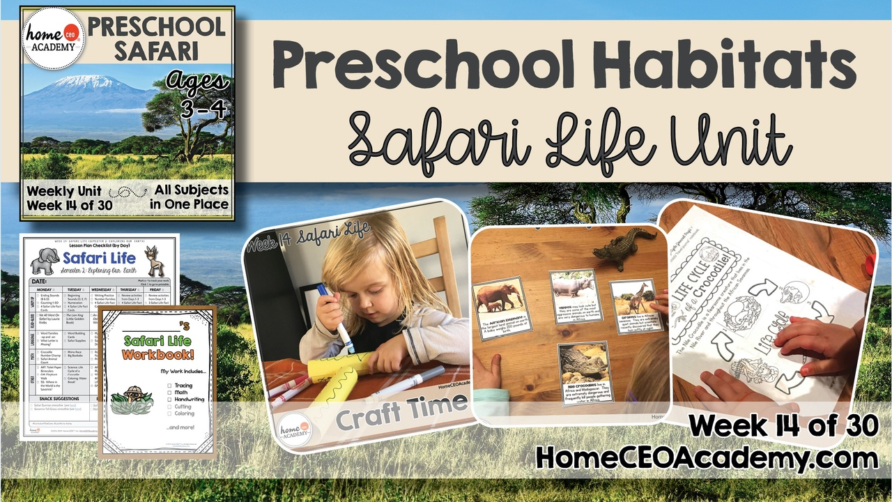 Compilation of images depicting pages and activities in the Safari themed week of the Home CEO Academy preschool homeschool curriculum Habitats Unit.