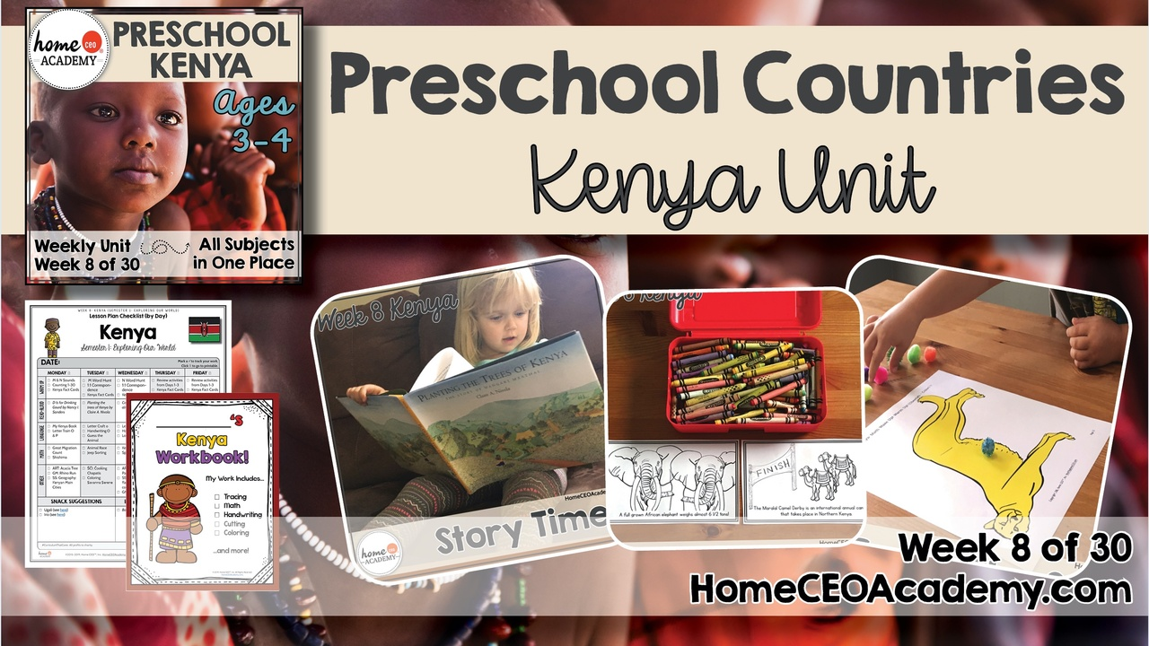Compilation of images depicting pages and activities in the Kenya themed week of the Home CEO Academy preschool homeschool curriculum Countries Unit.