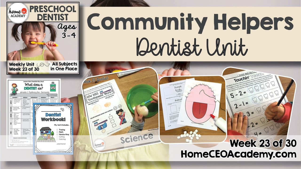 Compilation of images depicting pages and activities in the Dentist themed week of the Home CEO Academy preschool homeschool curriculum Community Helpers Unit.