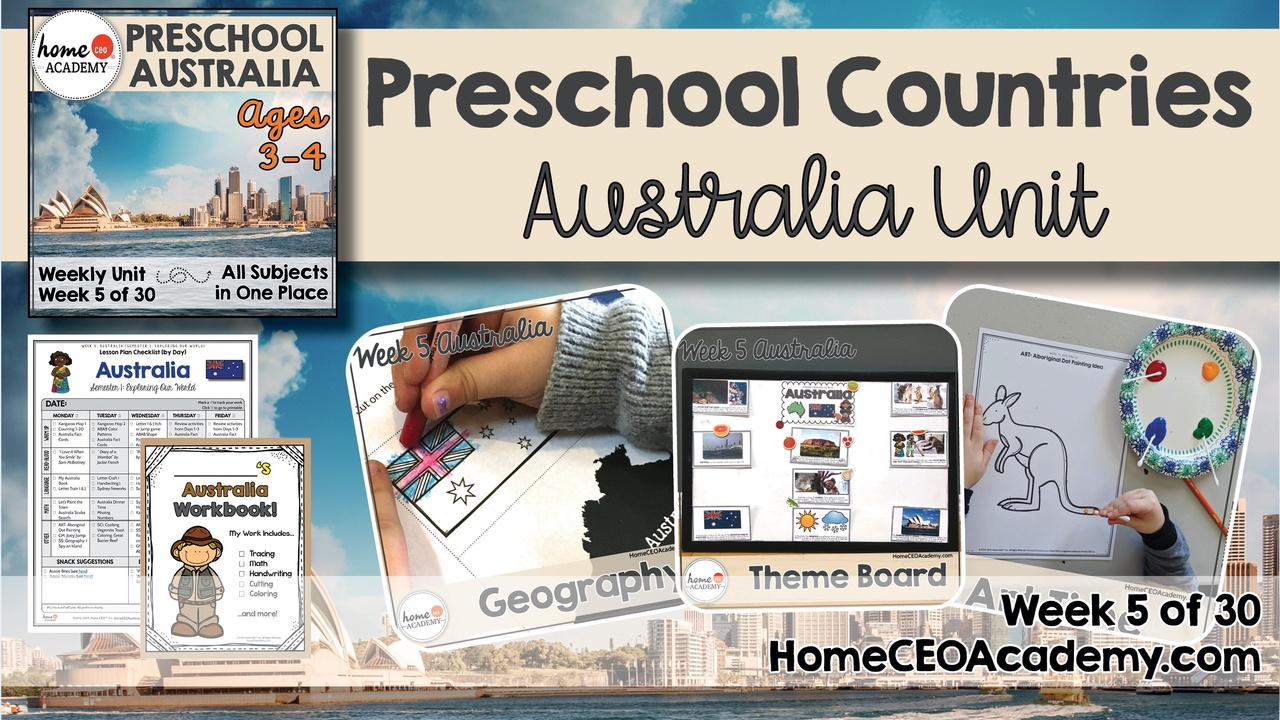 Compilation of images depicting pages and activities in the Australia themed week of the Home CEO Academy preschool homeschool curriculum Countries Unit.