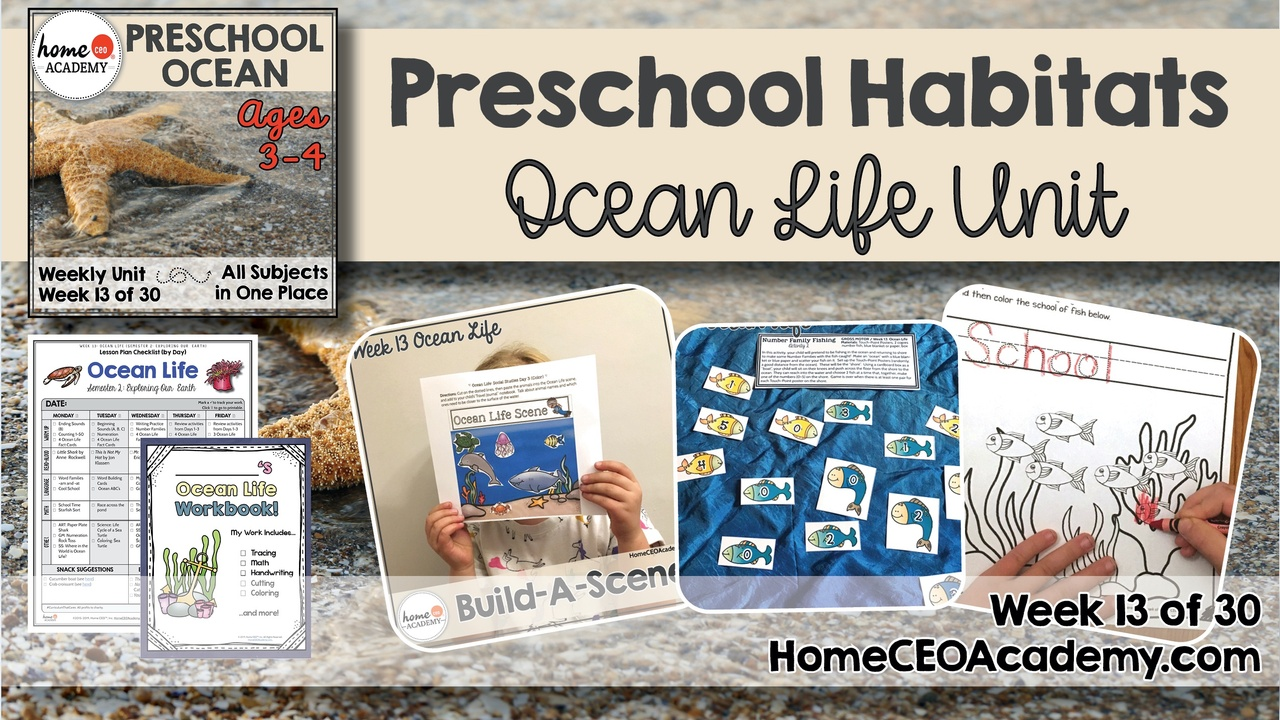 Compilation of images depicting pages and activities in the Ocean themed week of the Home CEO Academy preschool homeschool curriculum Habitats Unit.