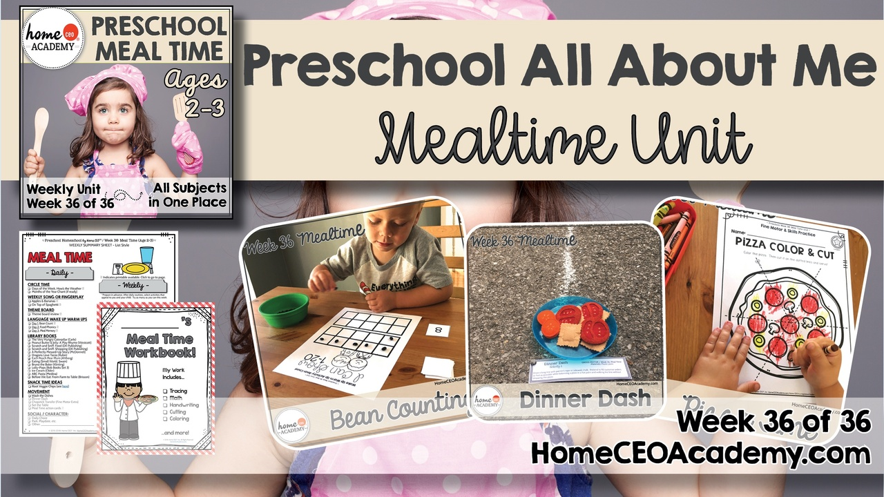 Compilation of images depicting pages and activities in the meal time care themed week of the Home CEO Academy preschool homeschool curriculum All About Me Unit.
