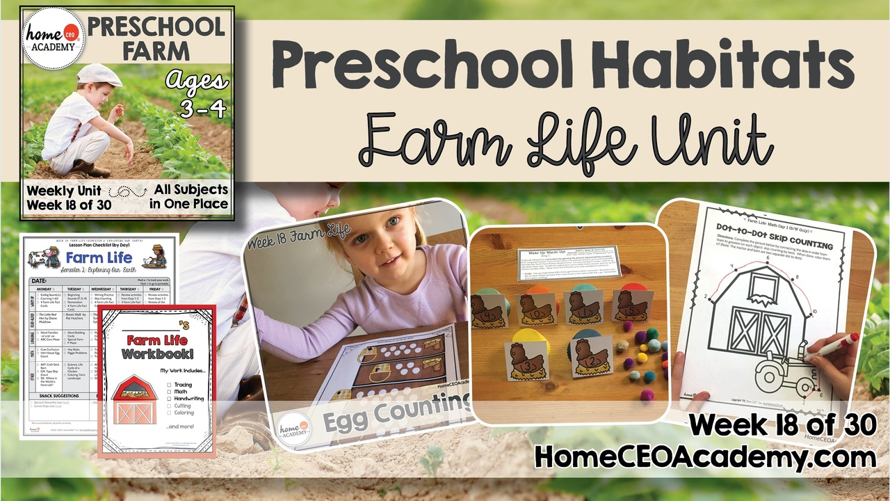 Compilation of images depicting pages and activities in the Farm themed week of the Home CEO Academy preschool homeschool curriculum Habitats Unit.