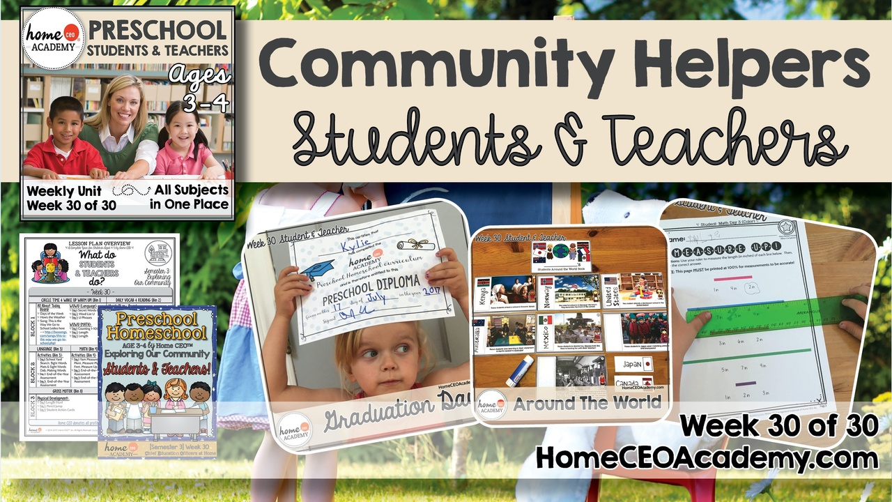 Compilation of images depicting pages and activities in the students and teachers themed week of the Home CEO Academy preschool homeschool curriculum Community Helpers Unit.