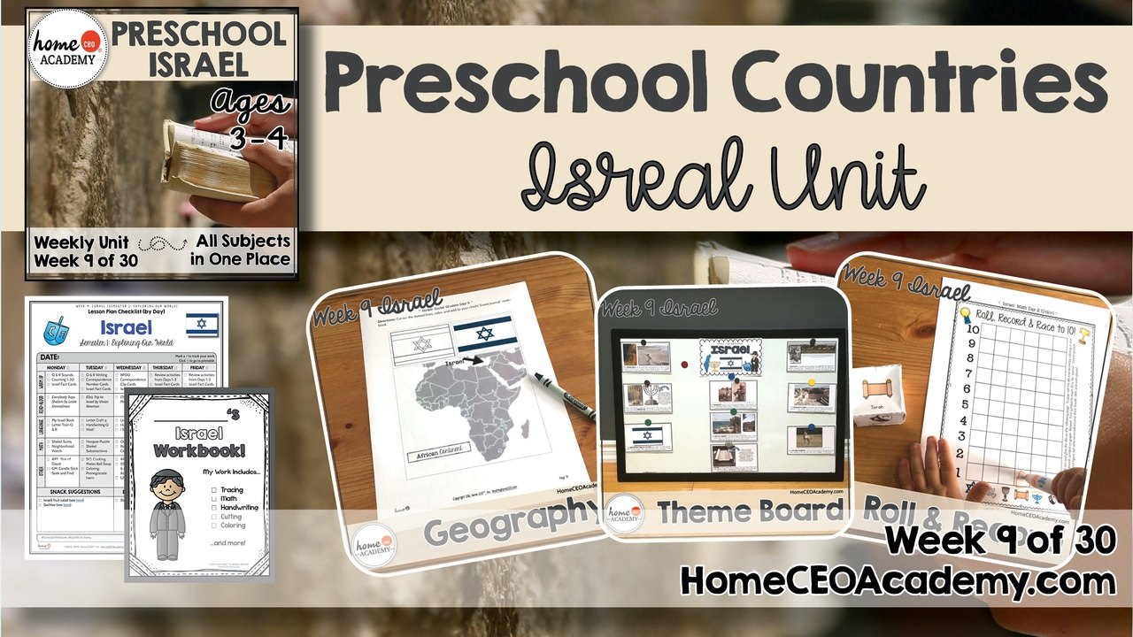 Compilation of images depicting pages and activities in the Israel themed week of the Home CEO Academy preschool homeschool curriculum Countries Unit.