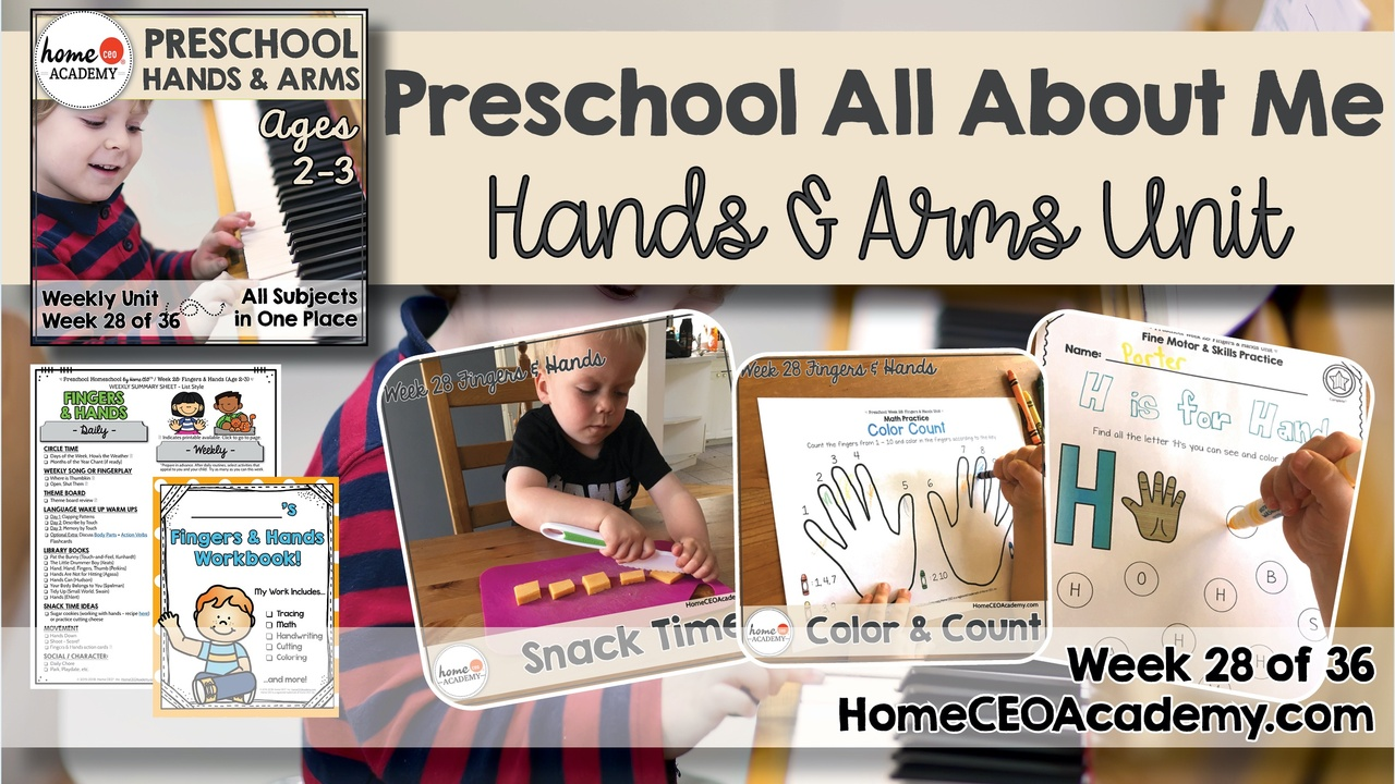 Compilation of images depicting pages and activities in the hands and arms themed week of the Home CEO Academy preschool homeschool curriculum All About Me Unit.