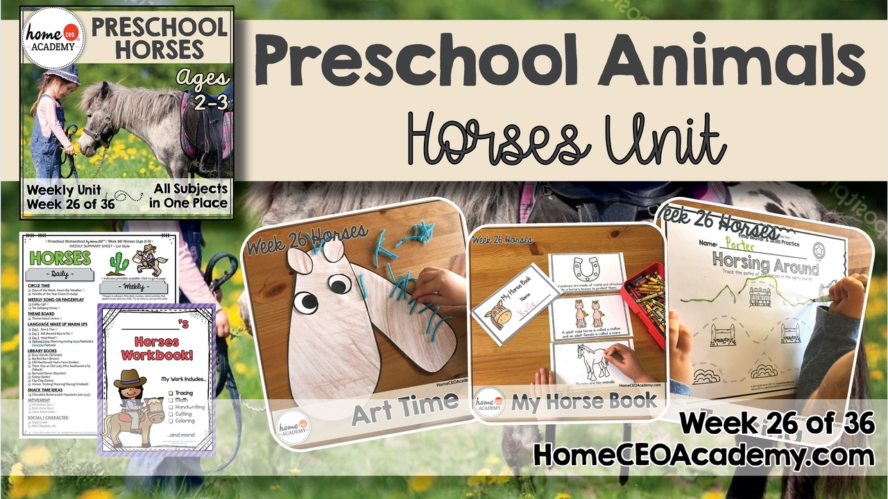 Compilation of images depicting pages and activities in the horses themed week of the Home CEO Academy preschool homeschool curriculum Animals Unit.