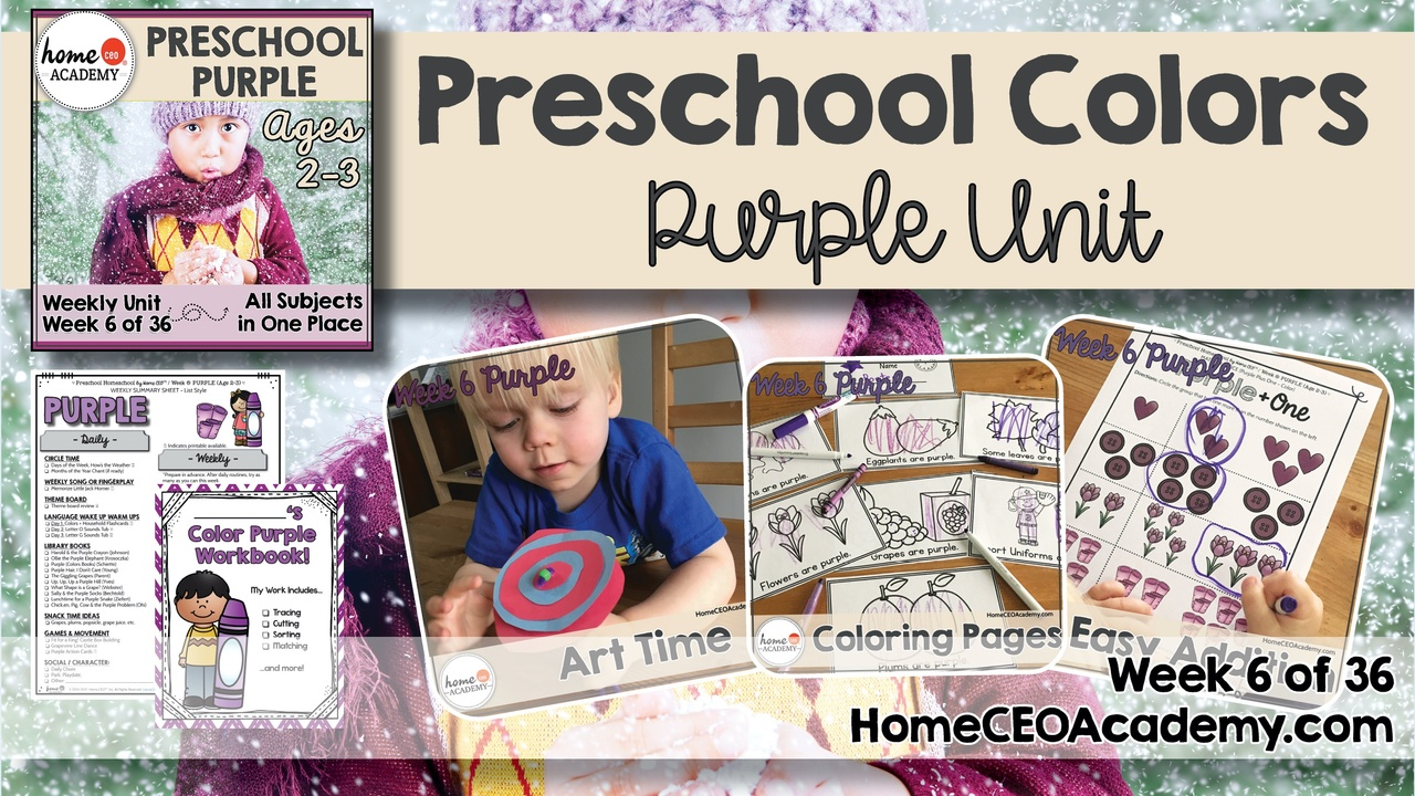 Compilation of images depicting pages and activities in the purple themed week of the Home CEO Academy preschool homeschool curriculum Colors Unit.