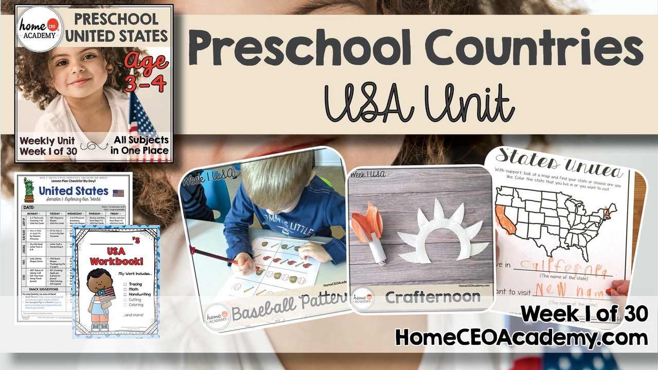 Compilation of images depicting pages and activities in the USA themed week of the Home CEO Academy preschool homeschool curriculum Countries Unit.