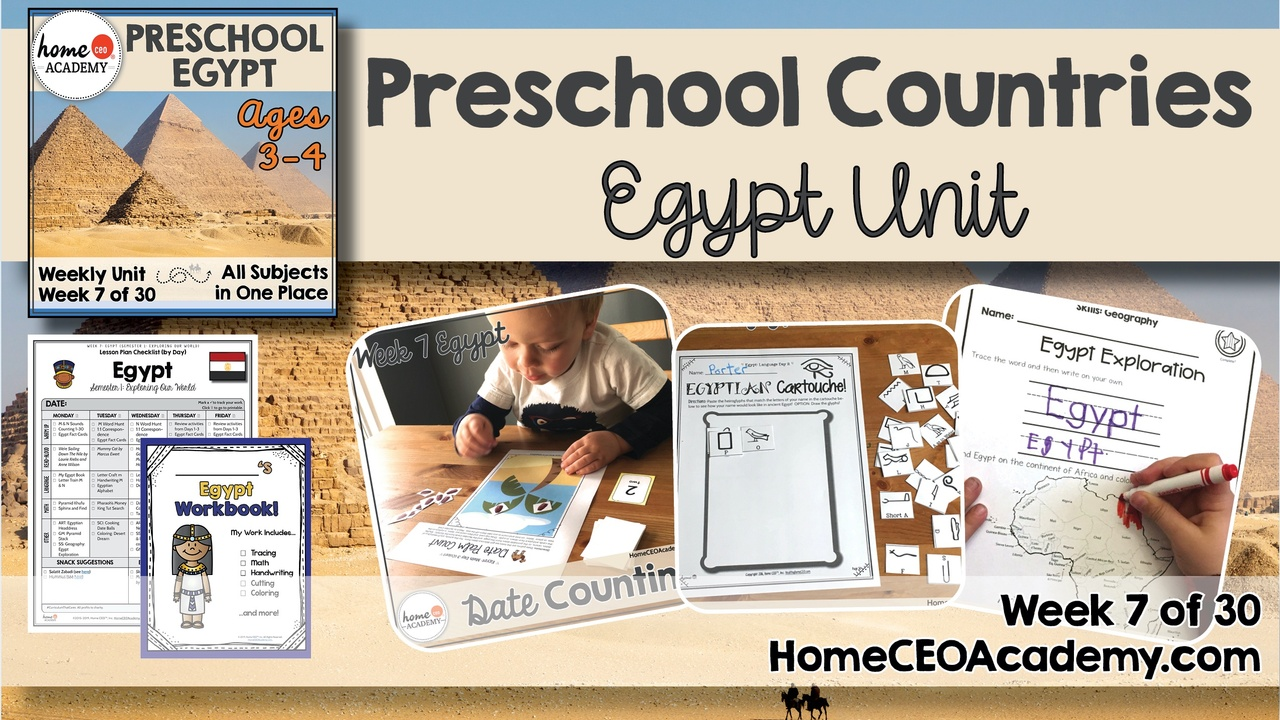 Compilation of images depicting pages and activities in the Egypt themed week of the Home CEO Academy preschool homeschool curriculum Countries Unit.