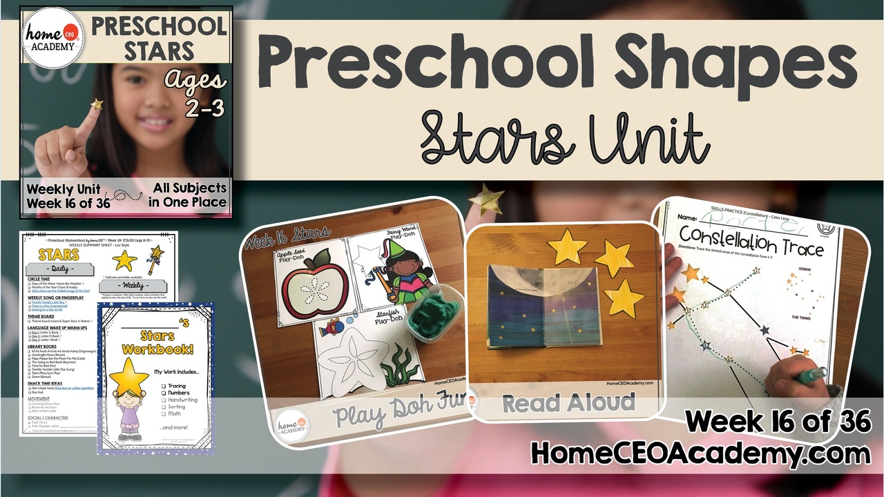 Compilation of images depicting pages and activities in the stars themed week of the Home CEO Academy preschool homeschool curriculum Shapes Unit.