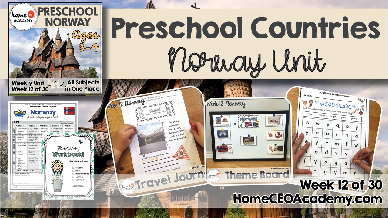 Compilation of images depicting pages and activities in the Norway themed week of the Home CEO Academy preschool homeschool curriculum Countries Unit.
