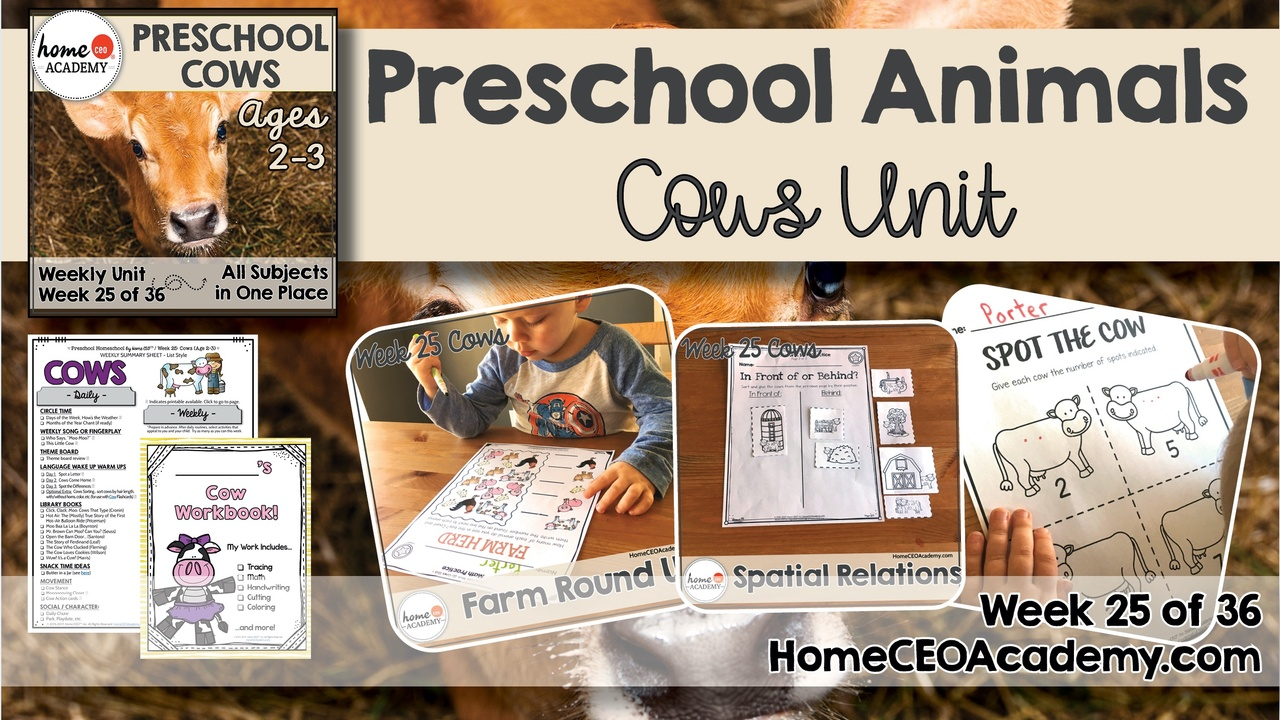Compilation of images depicting pages and activities in the cows themed week of the Home CEO Academy preschool homeschool curriculum Animals Unit.