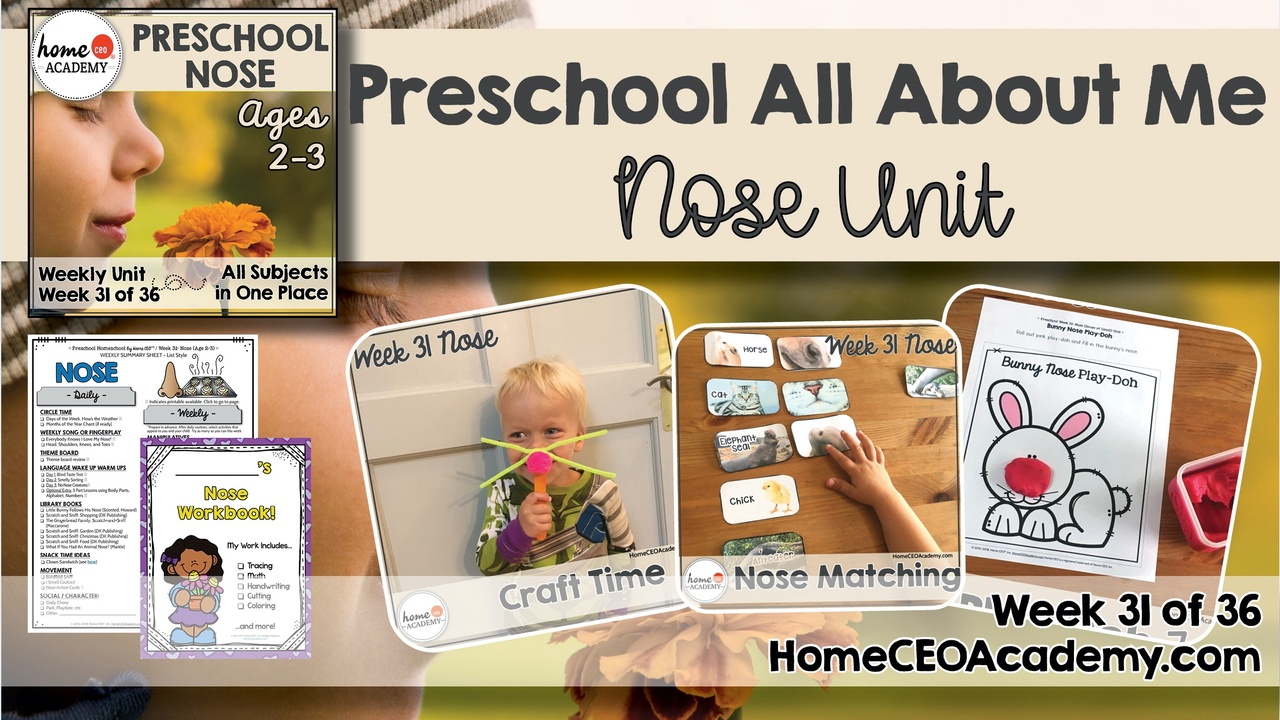 Compilation of images depicting pages and activities in the nose and sense of smell themed week of the Home CEO Academy preschool homeschool curriculum All About Me Unit.