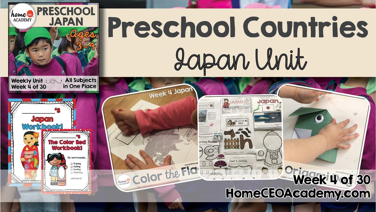 Compilation of images depicting pages and activities in the Japan themed week of the Home CEO Academy preschool homeschool curriculum Countries Unit.