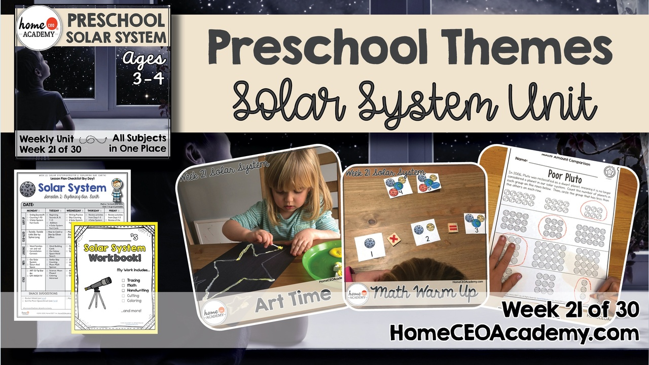 Compilation of images depicting pages and activities in the Solar System themed week of the Home CEO Academy preschool homeschool curriculum Habitats Unit.