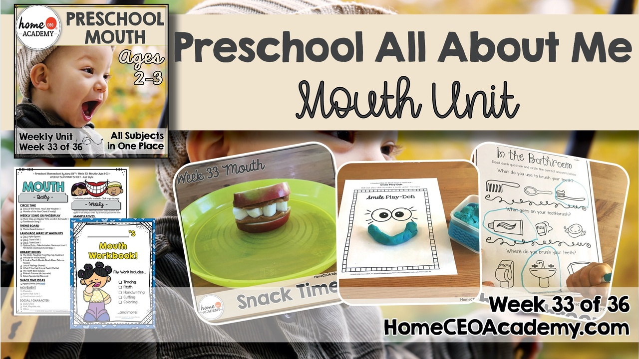Compilation of images depicting pages and activities in the mouth and sense of taste themed week of the Home CEO Academy preschool homeschool curriculum All About Me Unit.