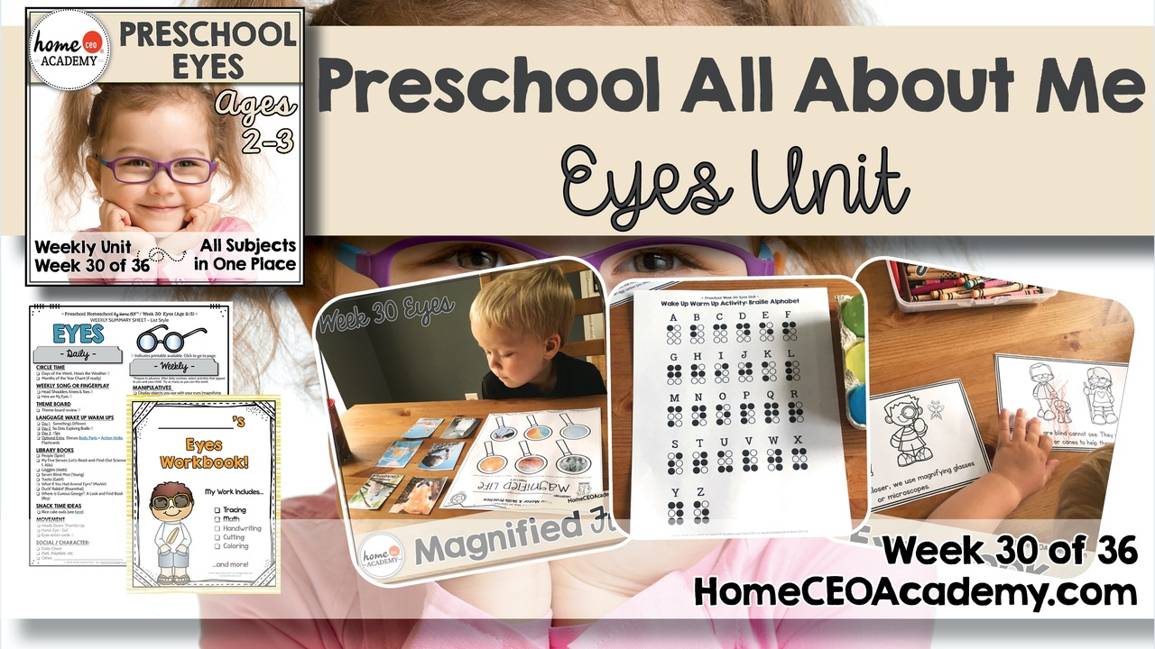 Compilation of images depicting pages and activities in the eyes and sense of sight themed week of the Home CEO Academy preschool homeschool curriculum All About Me Unit.
