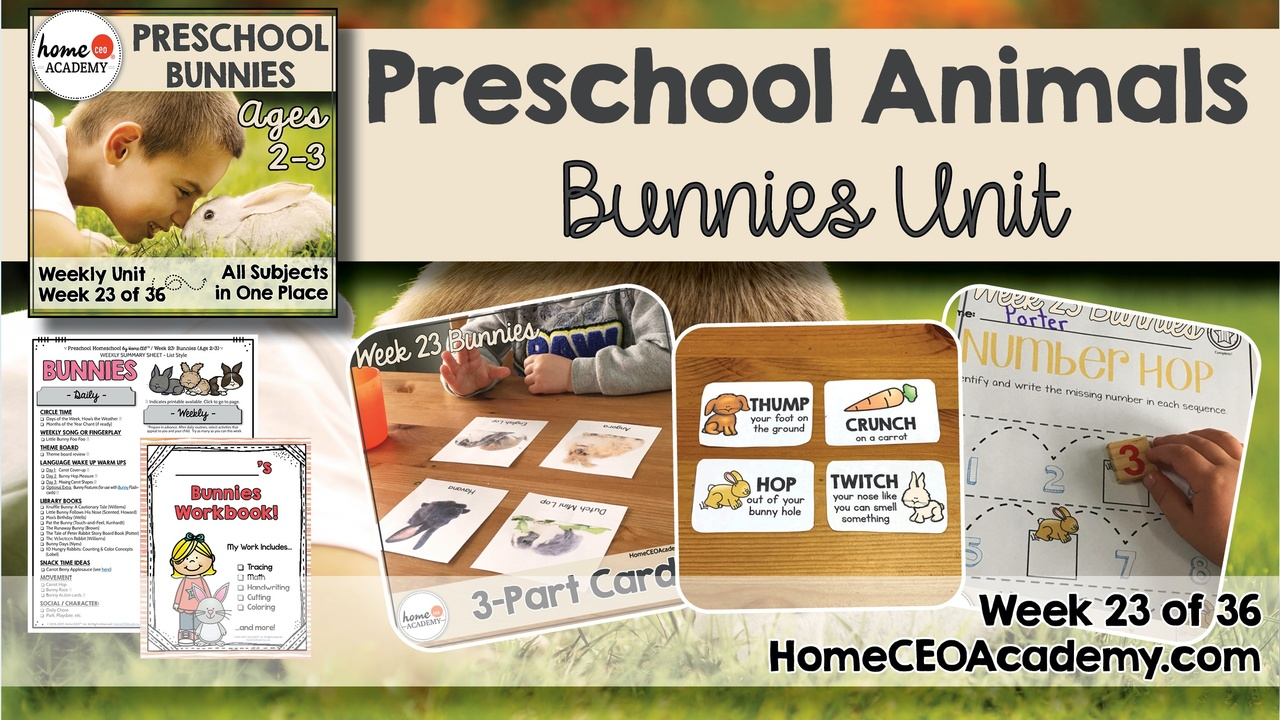 Compilation of images depicting pages and activities in the bunnies themed week of the Home CEO Academy preschool homeschool curriculum Animals Unit.