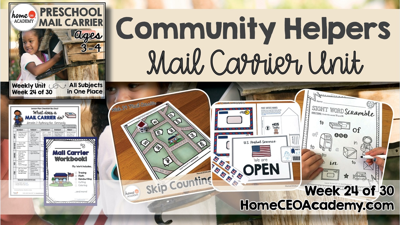 Compilation of images depicting pages and activities in the Mail Carrier themed week of the Home CEO Academy preschool homeschool curriculum Community Helpers Unit.