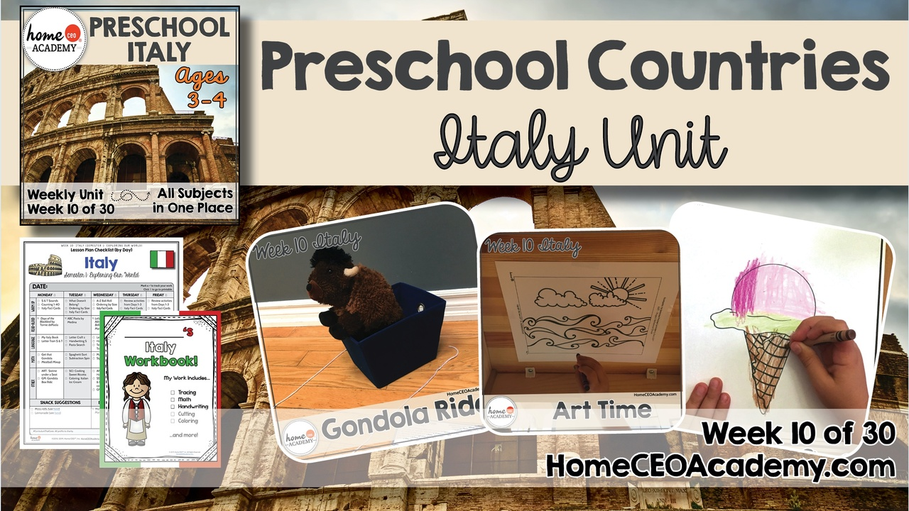 Compilation of images depicting pages and activities in the Italy themed week of the Home CEO Academy preschool homeschool curriculum Countries Unit.