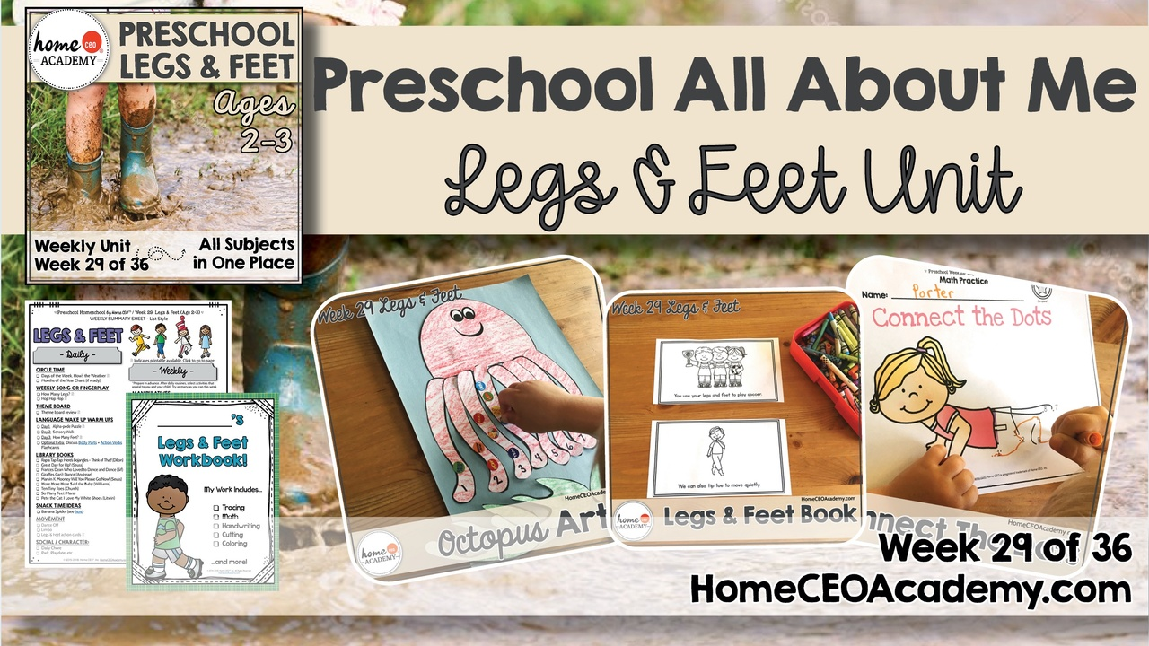 Compilation of images depicting pages and activities in the legs and feet themed week of the Home CEO Academy preschool homeschool curriculum All About Me Unit.