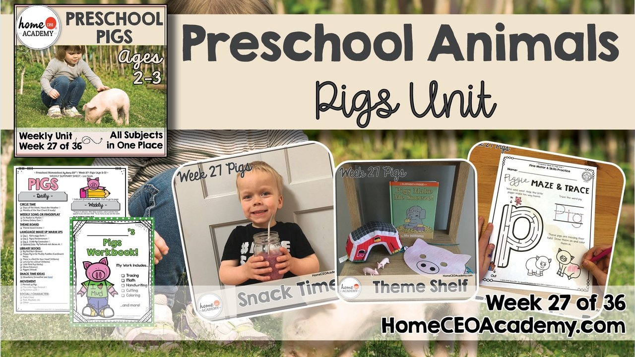 Compilation of images depicting pages and activities in the pigs themed week of the Home CEO Academy preschool homeschool curriculum Animals Unit.