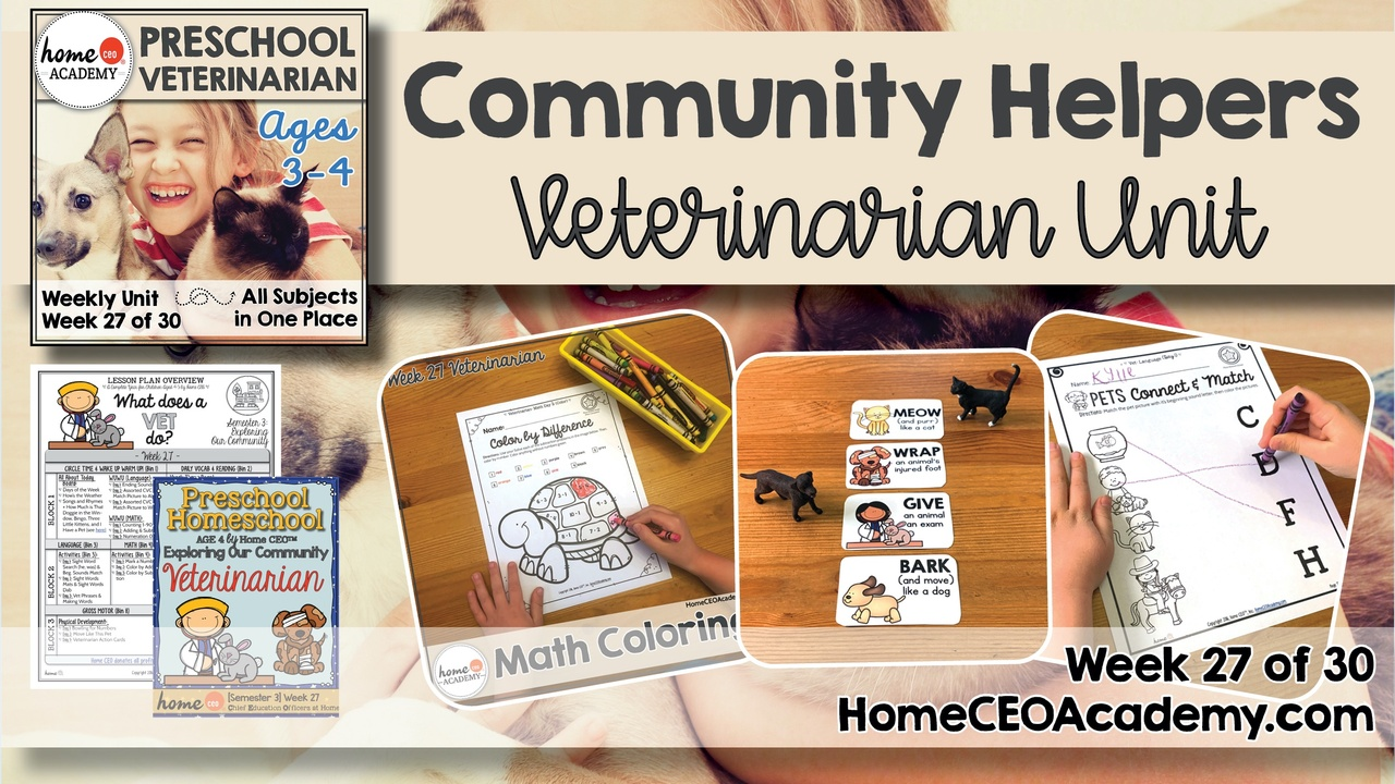 Compilation of images depicting pages and activities in the veterinarian themed week of the Home CEO Academy preschool homeschool curriculum Community Helpers Unit.