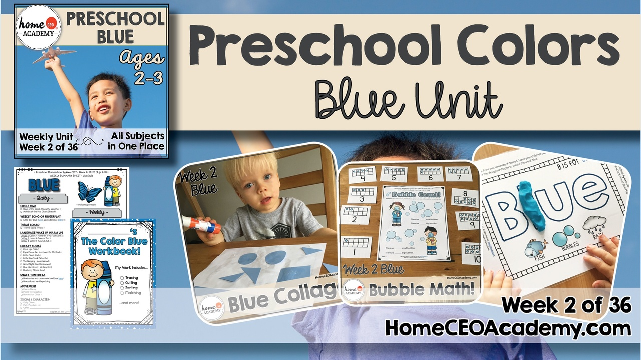 Compilation of images depicting pages and activities in the blue themed week of the Home CEO Academy preschool homeschool curriculum Colors Unit.