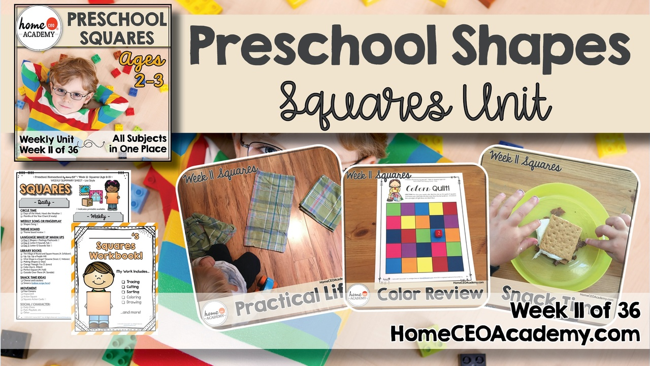 Compilation of images depicting pages and activities in the squares themed week of the Home CEO Academy preschool homeschool curriculum Shapes Unit.