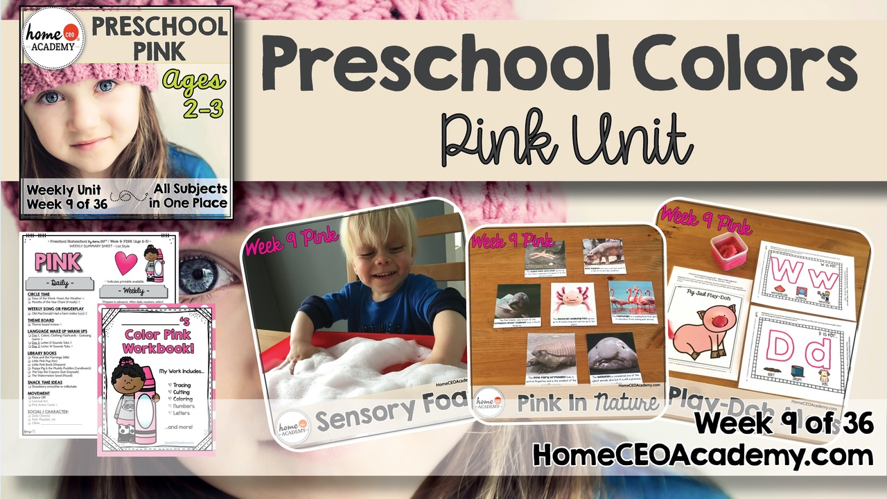 Compilation of images depicting pages and activities in the pink themed week of the Home CEO Academy preschool homeschool curriculum Colors Unit.