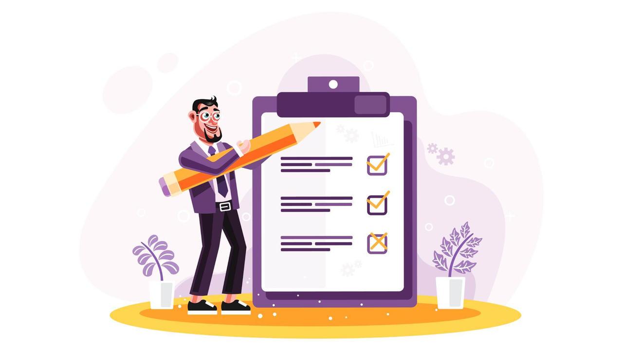 Ruse9visqmi9osabspbs businessman marked checklist on a clipboard paper pdf